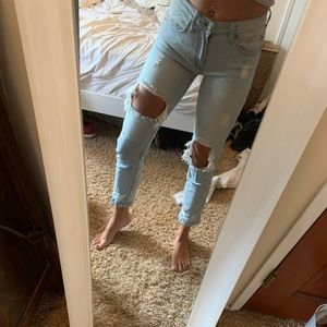Light wash distressed boyfriend style jeans 24